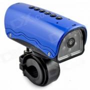 YDDVF Bicicleta montaje 300KP Gran Angular Deportes DVR videocámara w / TF / FM / altavoces / linterna - azul