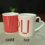 Imported Color-Changing Temperature Heat Sensitive Tea Milk Coffee Cup Mug Red Love