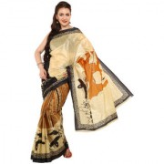 Parchayee Printed Beige With Multicolor Synthetic Art Silk Saree 94303A