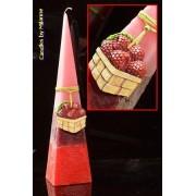 Frambozen Piramide kaars 33 cm