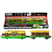 "Jakks Pacific Year 2014 Power City Trains ""Series 6"" Battery Powered Motorized Train Engine Set - TIKI Transporter FREIGHT with Working Headlight and 2 Speed Setting Plus 1 Car"