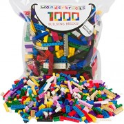 The Wonderland Company Building Bricks 1000 Pc Bulk Blocks Includes 60 Roof Pieces & Brick Separator Compatible With Lego