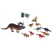 Kids Triceratop Dinosaur Toy Bundle 4 Items: 10 Inch Triceratop Dinosaur Makes A Sound, 10 Pk Of 4 Inch Dinosaurs, 2 Dinosaur Lollipops