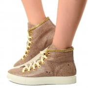 Sneakers Donna con Catena Vera Pelle Marrone Made in Italy T: 36, 39