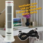 Mini Ventilador Torre USB e Pilha Branco CBRN01781