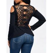 rosegal Lace Back Cold Shoulder Long Sleeve T-shirt