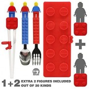 Brick Figure Spoon Fork Training Chopsticks and Case set for Toddler Kid Children (BPA / NON-TOXIC PRODUCT) / Lego Bri