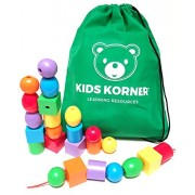 Toddlers First Rainbow Colors & Shapes Big Jumbo Lacing Beads With 2 Stringing Laces, Tote & Free Activity Guide Pdf A Montessori Fine Motor Skills Toy & Occupational Therapy Tool