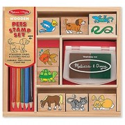 Melissa & Doug Wooden Stamp Set: Pets - 9 Stamps 5 Colored Pencils and 2-Color Stamp Pad