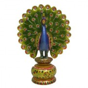 Beautifully hand painted wooden peacock on stand which adds beauty in your showcase or desktop
