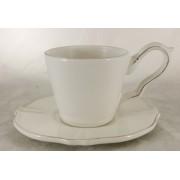 Kaffeetasse mit Unterteller Royal in antik-weiß