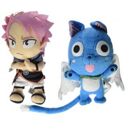 Set of 2 Animation Official Fairy Tail Anime Plush Doll - Happy & Natsu