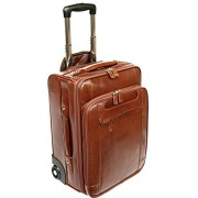 S Babila lujo piel tamaño de cabina portátil con ruedas equipaje de mano Trolley de Viaje de negocios caso marrón coñac Carry On