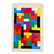 Tetris Childrens Wise Disk Building Blocks Wooden Toy Block Multi-color