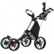 CaddyTek CaddyLite ONE-S One-Click Folding 3 Wheel Golf Buggy with Swivel Front Wheel - Silver