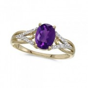 Oval Amethyst and Diamond Cocktail Ring 14K Yellow Gold (1.20 ctw)