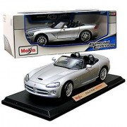 Maisto Year 2014 Special Edition Series 1:18 Scale Die Cast Car Set - Silver Color Coupe DODGE VIPER SRT-10 with Display Base (Car Dimension: 9 x 4 x 2-1/2 )
