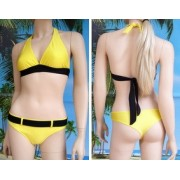 Bikini Carole reggiseno a triangolo lungo e tanga con cintura