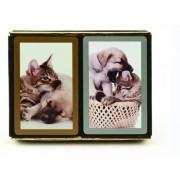 Bundle - 3 items: 1 Congress Playing Cards Cat & Dog Bridge (2 Decks), with 2 Packs (12 Each Pack) Tallies, Standard Index