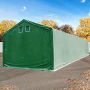 tendapro.it Tendone deposito 4x22m - altezza 3m, ingresso 3x3,2m, PVC ignifugo 720 g/m² Prime, verde scuro