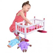 Wooden Baby Doll Rocking Cradle Fits Baby Dolls And 18 Inch Dolls Includes Mattress & Bedding