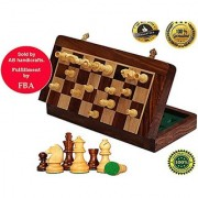 AB handicrafts 12x12 Inch Chess Set - Magnetic Folding Chess Game - Fine Wood Classic Handmade Standard Staunton Ultimate tournament Rosewood Chess Board