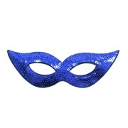 Dark Blue Sequined Masquerade Mask With Cat Eyes