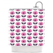 Kess InHouse Laura Escalante Pink Gerbera Purple Flower Shower Curtain 69 by 70-Inch