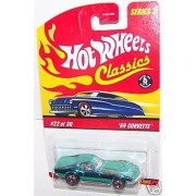 Hot Wheels Classics Series 3 69 Corvette 1969 Chevy Teal Green Paint 5 Spoke Red Line #22 of 30 by Hot Wheels