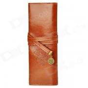PU de escritorio titular de la pluma del bolso w / Strap - Brown