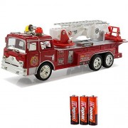 Fire Engine Truck Kids Toyl Kids Toy with Extending Ladder & Lights & Siren Sounds Vocal Phrases Bump & Go Action