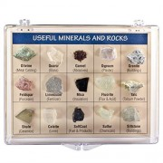 Fantasia Boxed Collection: Useful Minerals And Rocks Of The World In Presentation Case Set #9 Educational Natural Rock, Fossil, Gemstone & Mineral Specimens For The Classroom