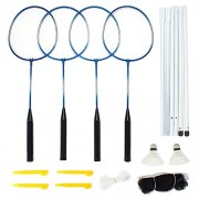 Crown Sporting Goods Complete 4-Player Recreational Badminton Set with Carrying Case