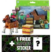 """Overworld Steve (~2.75"""") & Brown Horse (~3.25""""): Minecraft Mini Fully Articulated Action Figure Series #2 + 1 Free Official Minecraft Mini Sticker Sheet Bundle"""