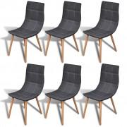 vidaXL Комплект столове за кухня/трапезария/тераса, 6 броя, цвят: тъмносив