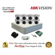 Hikvision DS-7108HGHI-F1 720P (1MP) 8CH Turbo HD Mini DVR 1Pcs + Hikvision DS-2CE56COT-IRP Dome Cameras 8Pcs + 1TB HDD + Active Copper Cable + Active Power Supply Full Combo Kit.