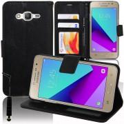 Samsung Galaxy Grand Prime Plus/ Grand Prime (2016)/ Galaxy J2 Prime/ Sm-G532f G532m G532g: Etui Housse Coque Pochette Portefeuille Livre Support Video Cuir Pu - Noir + Mini Stylet
