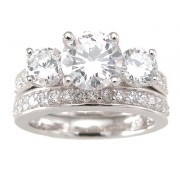 3 Three Stone Cubic Zirconia CZ Wedding Ring Set