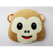 Soft Smiley Monkey Emoticon Brown Cushion Pillow Stuffed Plush Toy Doll