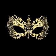 Gold Cat Eye Laser Cut Metal Mask - White Stones
