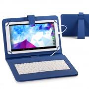 Husa Tableta 9 Inch Cu Tastatura Micro Usb Model X , Albastru , Tip Mapa