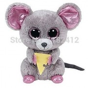 New Ty Beanie Boos Stuffed Animal Squeaker Mouse With Cheese 15Cm/6 Cute Big Eyes Ty Plush Animals Kids Toys For Childre