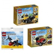 LEGO Creator 3 Set Bundle: Construction Vehicles 31041 Desert Racers 31040 and Transport Plane 30189