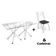Conjunto de Mesa Kappesberg Volga + 6 Cadeiras Cromada Itália - Cor Cromada - Assento Preto 110