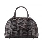 Damen Mock Croc Leder Handtasche in Schwarz - Schultertasche, Umhängetasche, Shopper, Henkeltasche