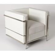 Replica Le Corbusier 1-seater-White Premium Italian Leather with PU piping