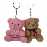 Tickles Multi Lovely Cute Teddy keychain (Set of two) Stuffed Soft Plush Toy Teddy Bear 8 cm T383