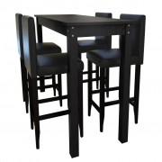 vidaXL Čierny barový stôl a 4 barové stoličky (240378+ 2 x 240071)