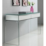 Consola BACHER 120x40, cristal curvado, cajones blanco