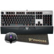 Kit Gamer de Teclado y Mouse Gamdias incluye Hermes E1 + Demeter E2, Alámbrico, USB, Negro/Plata